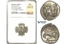 P48, Thrace (Moesia Inferior) Istros (ap. 400-350 BC) AR Stater (4.72g) Sea Eagle/Dolphin, NGC MS