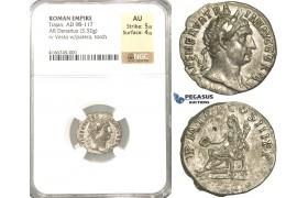 P50, Roman Empire, Trajan (98-117 AD) AR Denarius (3.32g) Rome, 101-102 AD, Vesta, NGC AU