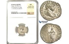 P51, Roman Empire, Trajan (98-117 AD) AR Denarius (3.35g) Rome, 108-110 AD, Felicitas, NGC AU