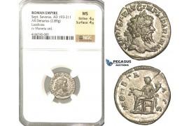 P56, Roman Empire, Septimius Severus (193-211 AD) AR Denarius (2.89g) Rome, 200-201 AD, Moneta, NGC MS