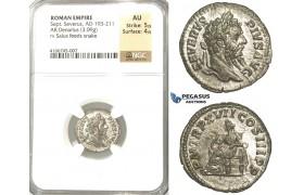 P58, Roman Empire, Septimius Severus (193-211 AD) AR Denarius (3.09g) Rome, 209 AD, Salus/Snake, NGC AU