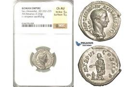 P60, Roman Empire, Severus Alexander (222-235 AD) AR Denarius (3.26g) Rome, 227 AD, NGC Ch AU