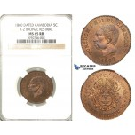 P64, Cambodia, Norodom I, 5 Centimes 1860 (Dated) NGC MS65RB