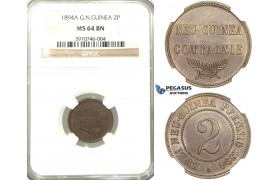 P66, German New Guinea, 2 Pfennig 1894-A, Berlin, NGC MS64BN