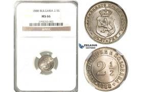P68, Bulgaria, Alexander I, 2 1/2 Stotinki 1888, NGC MS66