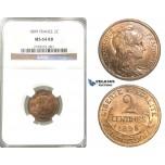 P69, France, Third Republic, 2 Centimes 1899, Paris, NGC MS64RB