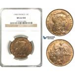 P72, France, Third Republic, 10 Centimes 1900, Paris, NGC MS64RB