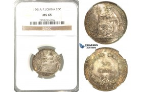 P75, French Indo-China (Vietnam) 20 Centimes 1901-A, Paris, Silver, NGC MS65