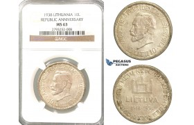 P76, Lithuania, Republic Anniversary, 10 Litu 1938, Silver, NGC MS63