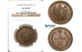 P84, Russia, Alexander I, 2 Kopeks 1813 EM/HM, Ekaterinburg, NGC AU58BN
