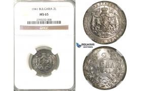 R05, Bulgaria, Boris III, 2 Leva 1941, NGC MS65