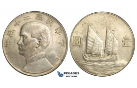 """R08, China """"Junk"""" Dollar 1934, Silver, Mint state (Light hairlines)"""