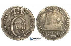 R09, Danish West Indies, Christian VII, 12 Skilling 1767, Kongsberg, Silver, few scratches, H 8