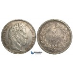 R10, France, Louis Philippe, 5 Francs 1835-B, Rouen, Silver, Nice w. Fine toning!