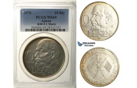 R101, United Arab Emirates, Ajman, 10 Riyals 1970, Silver, PCGS MS69 Matte