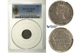 R108, Canada, Victoria, 5 Cents 1894, Silver, PCGS XF45