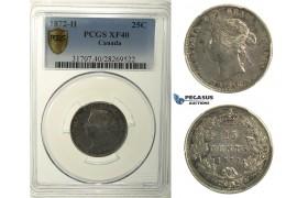 R109, Canada, Victoria, 25 Cents 1872-H, Heaton, Silver, PCGS XF40