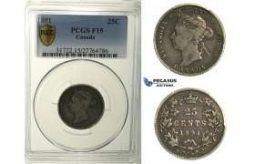 R111, Canada, Victoria, 25 Cents 1891, Silver, PCGS F15