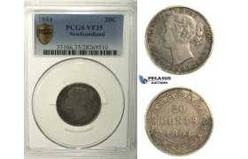 R120, Canada, Newfoundland, Victoria, 20 Cents 1894, Silver, PCGS VF35