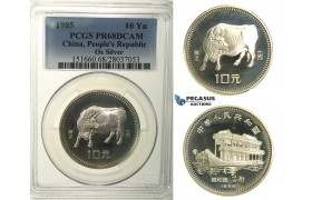 R121, China, 10 Yuan 1985 (Year of the Ox) Silver, PCGS PR68DCAM