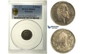 R125, Denmark, Christian IX, 4 Skilling 1871-CS, Copenhagen, Silver, PCGS MS65