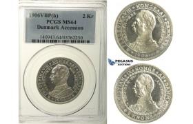 R130, Denmark, Frederik VIII, 2 Kroner 1906 (Accession of Fr. VIII) Copenhagen, Silver, PCGS MS64
