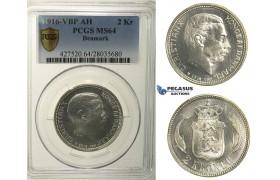 R131, Denmark, Christian X, 2 Kroner 1916-VBP, Copenhagen, Silver, PCGS MS64