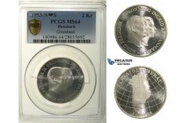 R136, Denmark, Frederik IX, 2 Kroner 1953 (Greenland) Silver, Copenhagen, PCGS MS64