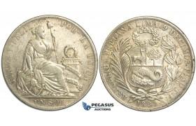 R14, Peru, Sol 1889-TF, Silver, Nice toning!