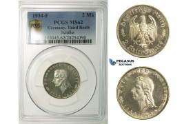 R142, Germany, Third Reich, 2 Reichmark 1934-F (Schiller) Stuttgart, Silver, PCGS MS62