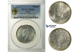 R148, India (British) George VI, Rupee 1938(b) Bombay, Silver, KM555 (Without dot) PCGS MS62