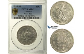 R152, Mexico, Cap and Rays 50 Centavos 1916-M, Mexico City, Silver, PCGS MS62
