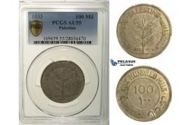 R154, Palestine, 100 Mils 1933, Silver, PCGS AU55, Rare!