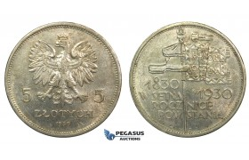 R155, Poland, 2nd Republic, 5 Zlotych 1930 (Revolution) Warsaw, Silver, Lustrous High Grade!