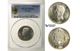R170, Sweden, Gustaf V, 1 Krona 1935-G, Stockholm, Silver, PCGS MS66 (Mirror fields)