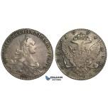 R20, Russia, Catherine II, Rouble 1776 СПБ-ЯЧ, St. Petersburg, Silver, Toned High Grade!