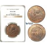 R201, Australia, George V, Penny 1921, NGC MS64RB Rare Grade!