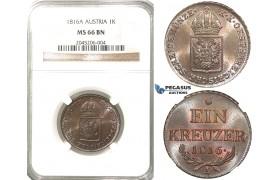 R203, Austria, Joseph I, Kreuzer 1816-A, Vienna, NGC MS66BN (Pop 1/2, No finer)