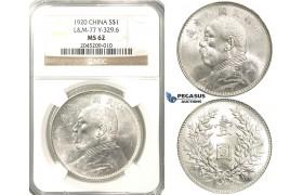 "R208, China ""Fat Man"" Dollar 1920, Silver, L&M 77, NGC MS62"