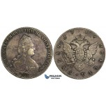 R21, Russia, Catherine II, Rouble 1787 СПБ-ЯА, St. Petersburg, Silver, Toned & Nice!