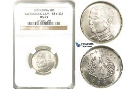 R211, China, Kwangtung, 20 Cents 1929, Silver, NGC MS63