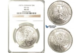 R216, Germany, Weimar, Oak Tree 5 Reichsmark 1927-A, Berlin, Silver, NGC MS65
