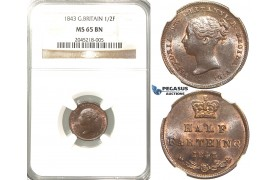R217, Great Britain, Victoria, Half Farthing 1843, NGC MS65BN