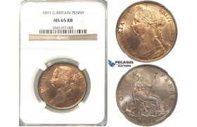 R218, Great Britain, Victoria, Penny 1891, NGC MS65RB