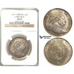 R219, Great Britain, George III, Large Bust Half Crown 1817, Silver, NGC AU55