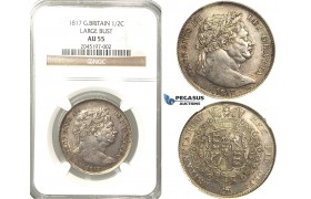 R219, Great Britain, George III, Large Bust Half Crown 1817, Silver, NGC AU55