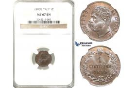 R222, Italy, Umberto I, Centesimo 1895-R, Rome, NGC MS67BN (Pop 1/1, Finest)