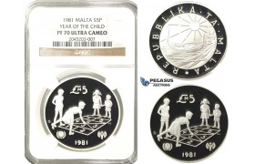 R223, Malta, 5 Pounds 1981 (Year of the Child) Silver, NGC PF70UC (Pop 1/1, Finest)