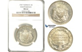 R224, Norway, 2 Kroner 1907 (Independence) Silver, NGC MS62