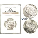R225, Poland, 5 Zlotych 1932, London, Silver, NGC MS63 Fully frosted!